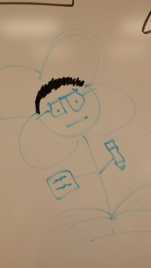 Closer up, me as a flower. I'm pleased the students used the black (and not the