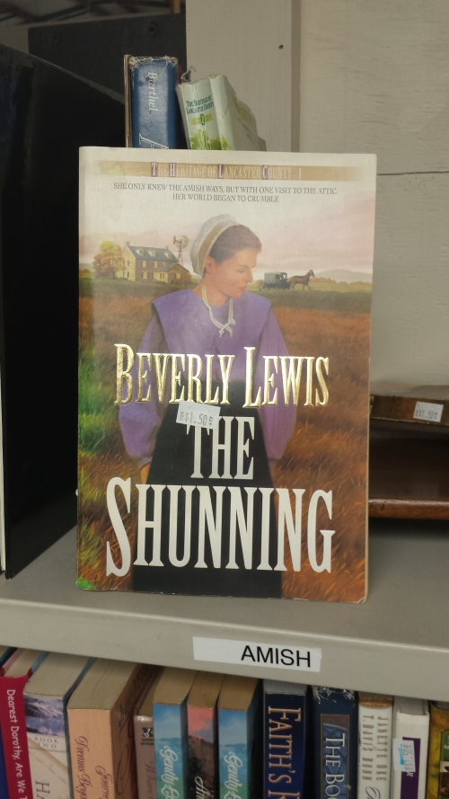 "In the ""Amish"" section of the book room, Beverly Lewis's The Shunning: ""She only knew the Amish ways, but with one visit to the attic, her world began to crumble."""
