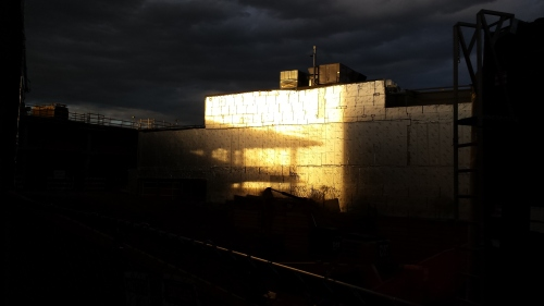 Evening, looking at a west-facing wall.