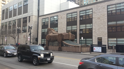 Trojan Horse spotted at Chicago Ave. and State Street, Chicago, IL, 11 Dec. 2015