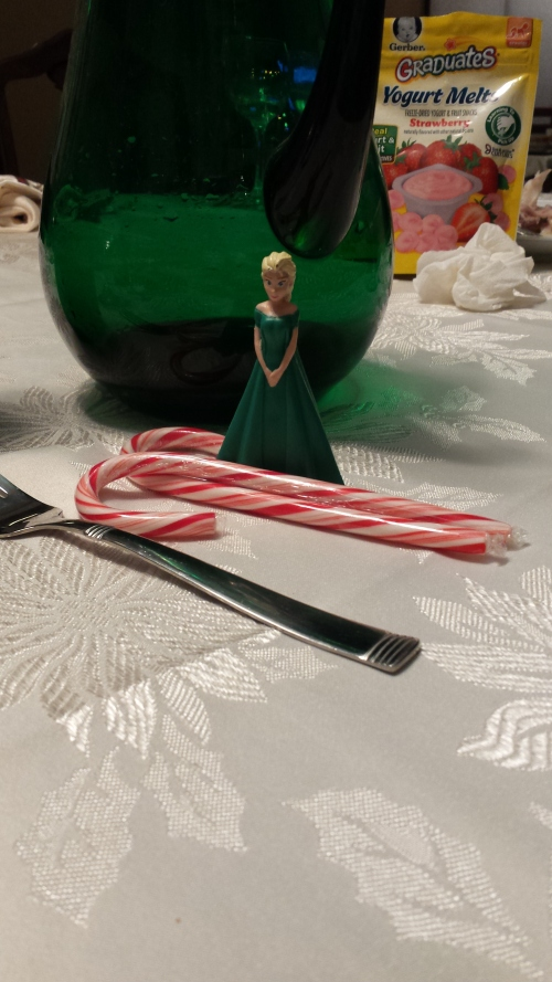 Elsa at Christmas table. 25 Dec.