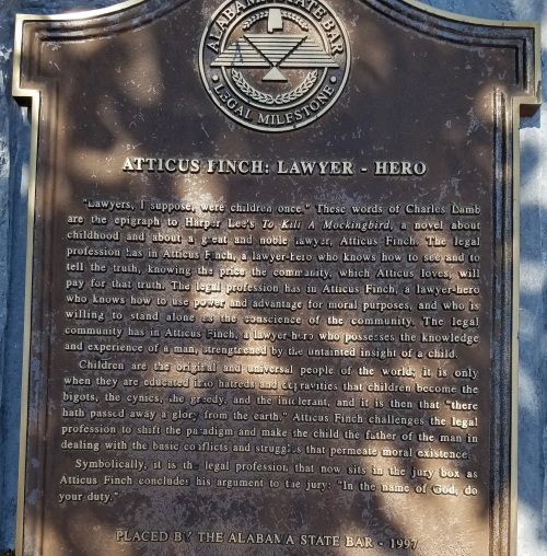 A plaque to Atticus Finch from the Alabama State Bar located at courthouse grounds.