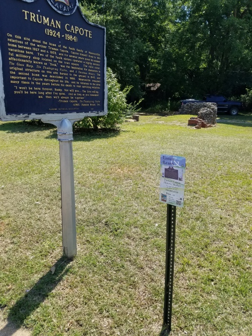 Capote marker at Faulk house and one of many audio-tour signs in Monroeville.