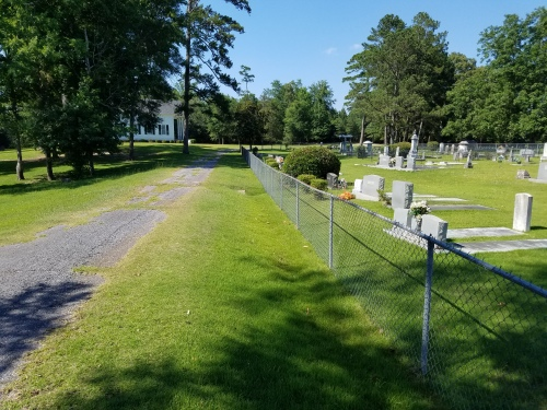 Pine Flat Methodist Church and cemetery along Route 10, west of Butler Springs Road.