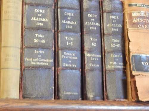 "The book mentions that lawyer Atticus had a set of the Code of Alabama in his office. This photo's a bit out of focus, but I loved that the volume titles included ""Bastardy."""