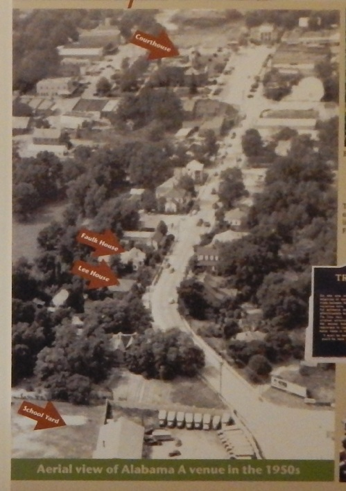 An image of South Alabama Avenue from the early 1950s, as displayed at Monroe County Heritage Museums. Top of the photo is north.