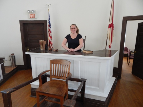 My attorney wife was thrilled to pretend to sit (signs said to not actually sit there) at the judge's bench.
