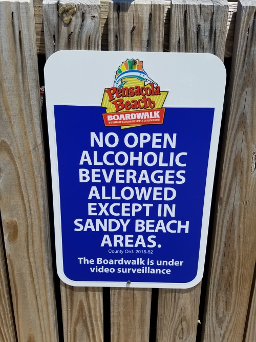 No booze, except at the beach.