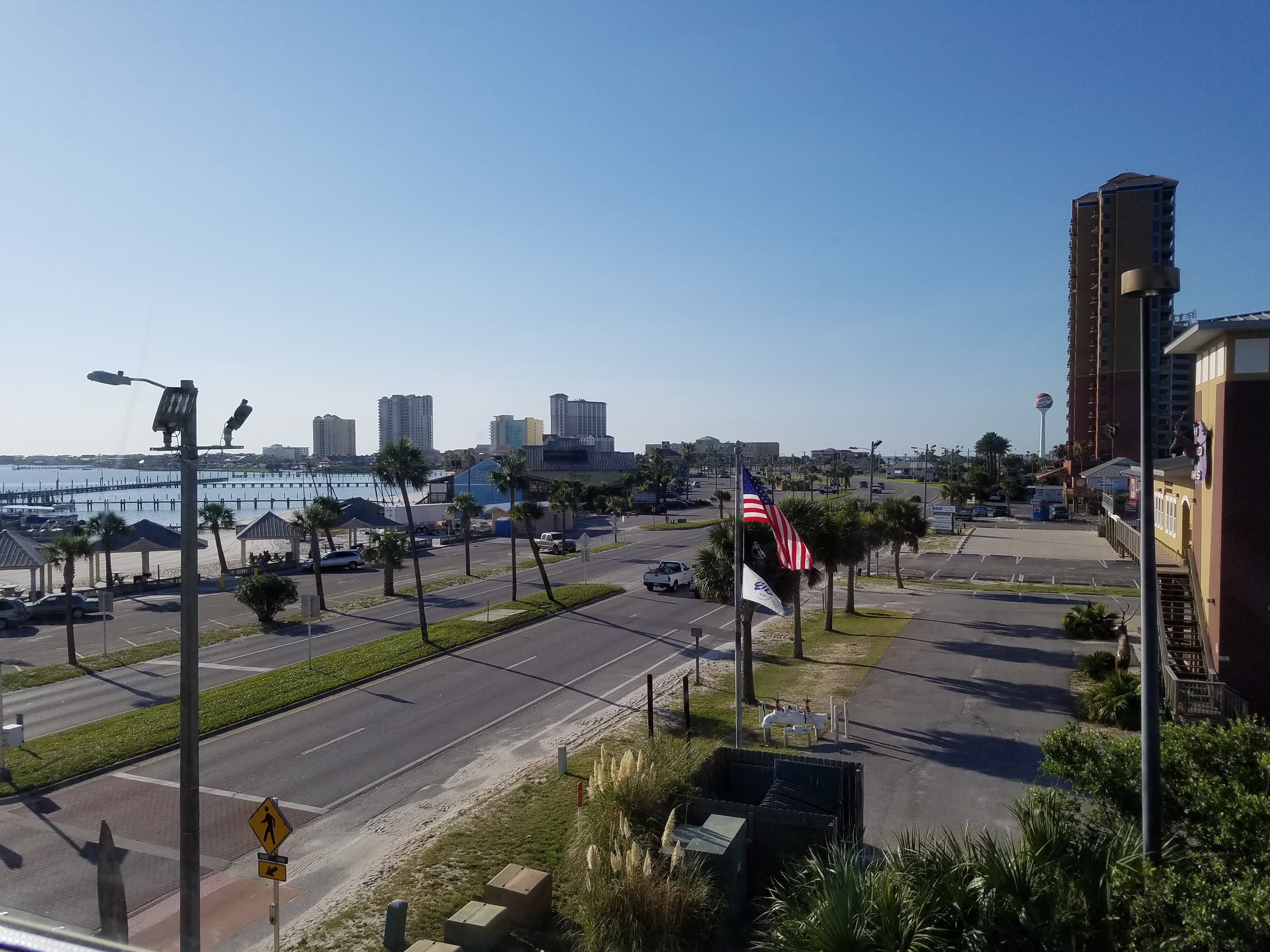 View of Pensacola Beach from the third-floor men's room near the Drowsy Poet