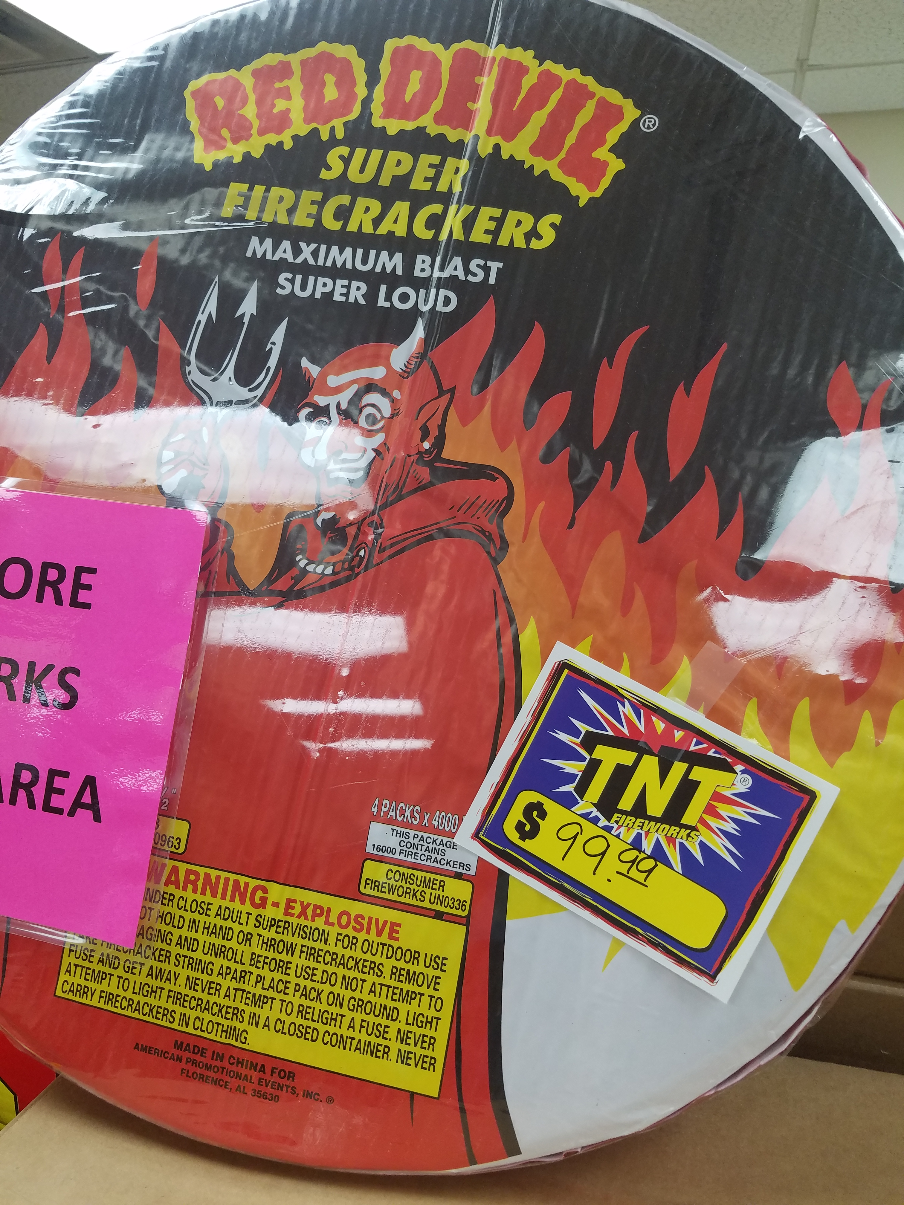 At the Tennessean truck stop near Lewisburg, TN. The fine print explains that $99.99 buys 16,000 firecrackers.