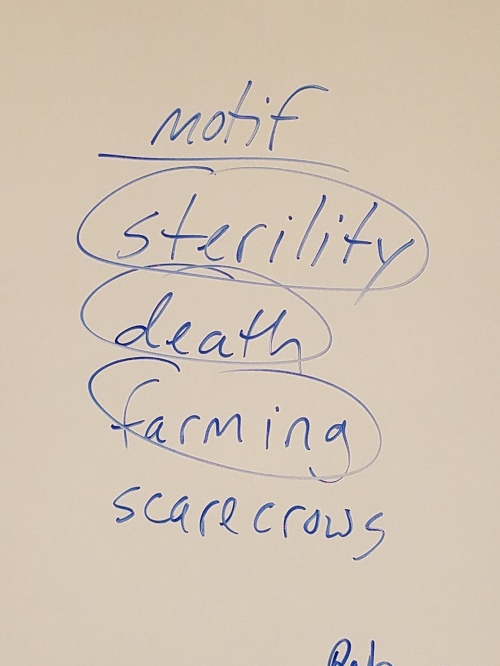 "Residue of a lit class discussion (of ""The Hollow Men,"" I think) on my colleague's whiteboard. 22 Feb."